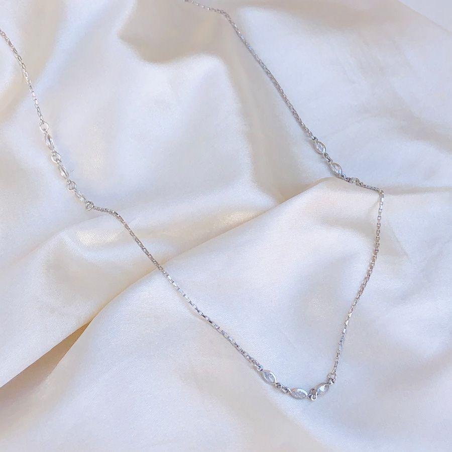 Colar Longo 3 Zircônias Banhado em Ródio Branco