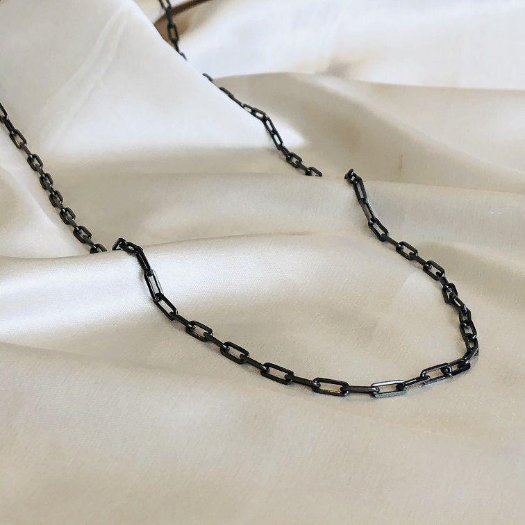 Colar Longo em Corrente Cartier Banhado em Ródio Negro