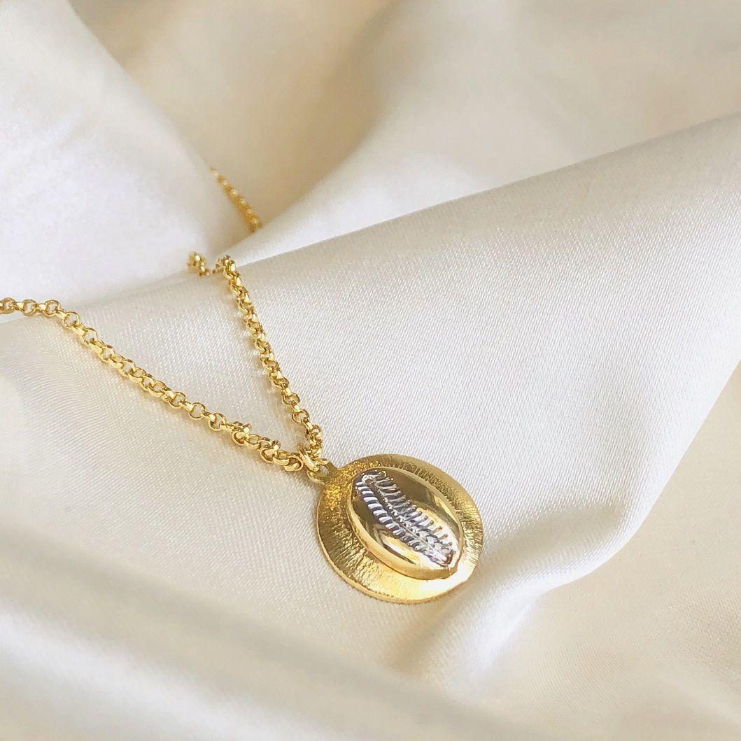Colar Medalha Búzio Banhada em Ouro 18k 60cm