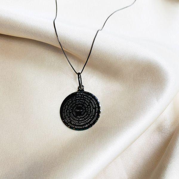 Colar Medalha de Oração do Pai Nosso Banhada em Ródio Negro