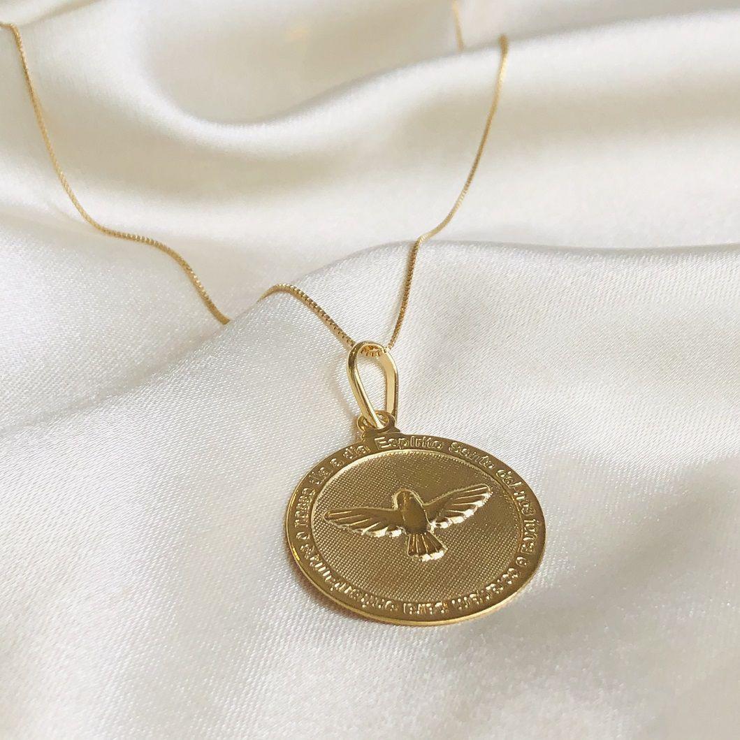 Colar Medalha Espírito Santo Banhado em Ouro 18k