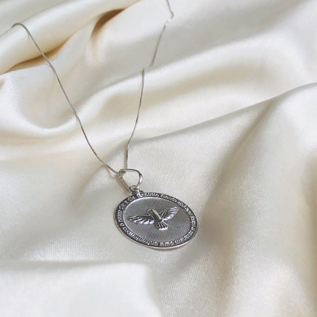 Colar Medalha Espírito Santo Banhado em Ródio Branco