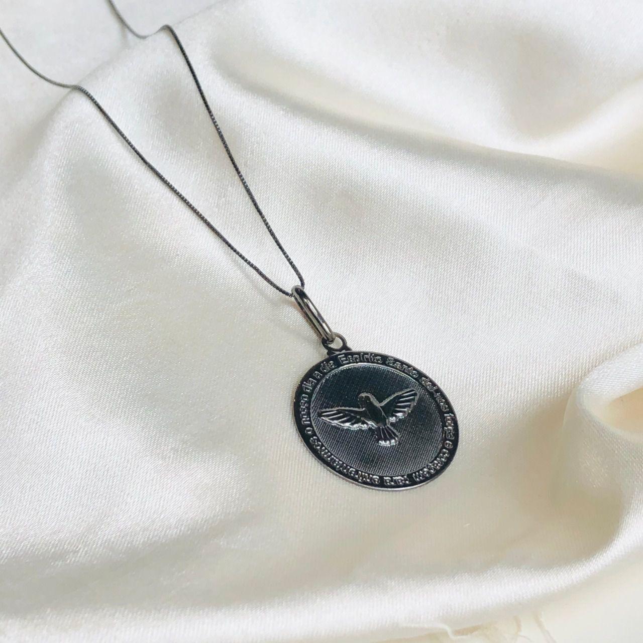 Colar Medalha Espírito Santo Banhado em Ródio Negro