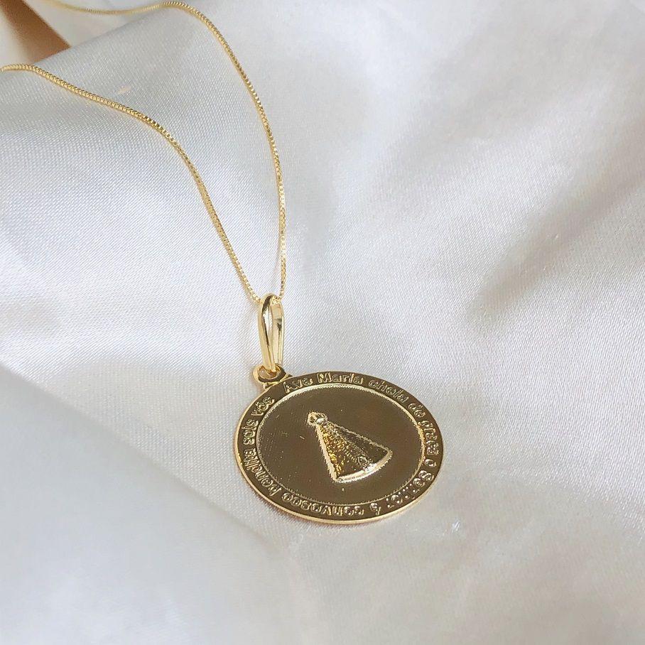 Colar Medalha Nossa Senhora Banhado em Ouro 18k