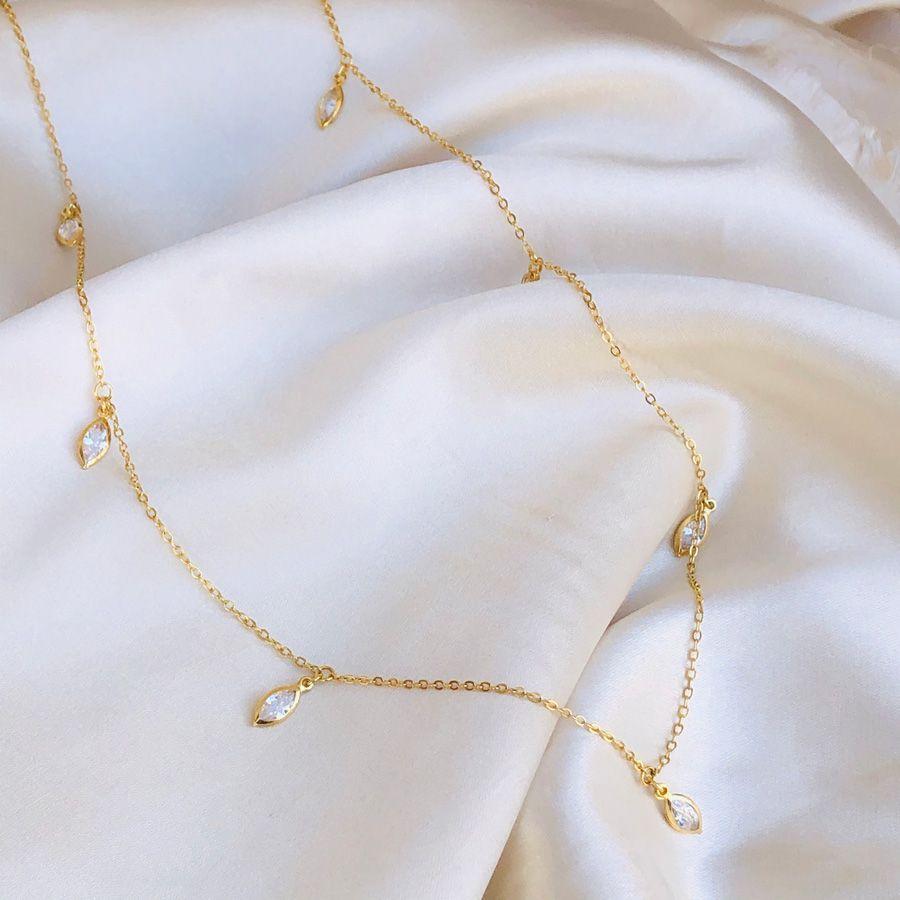 Colar Médio Navetes Cristal Banhado em Ouro 18k