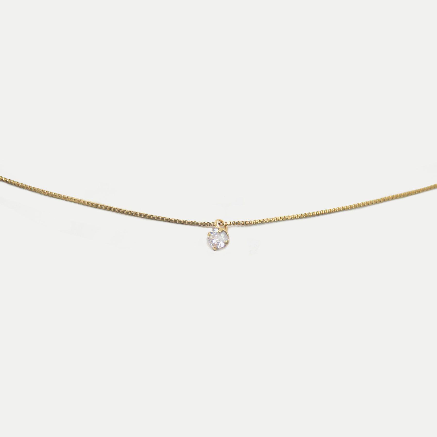 Colar Ponto de Luz Mini Zircônia Banhado em Ouro 18k