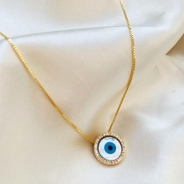 Colar Olho Grego Madre Pérola Cravejado Banhado em Ouro 18k