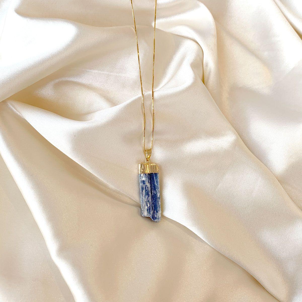 Colar Pingente Cianita Azul Banhado em Ouro 18k