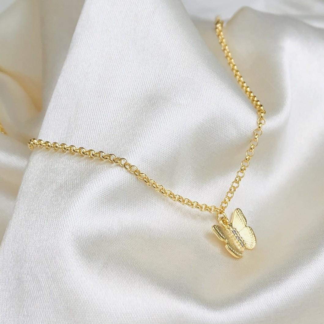 Colar Pingente de Borboleta G Banhado em Ouro 18k