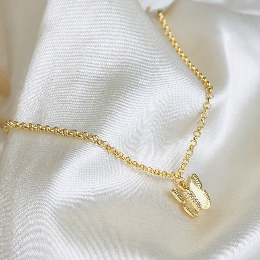 Colar Pingente de Borboleta M Banhado em Ouro 18k