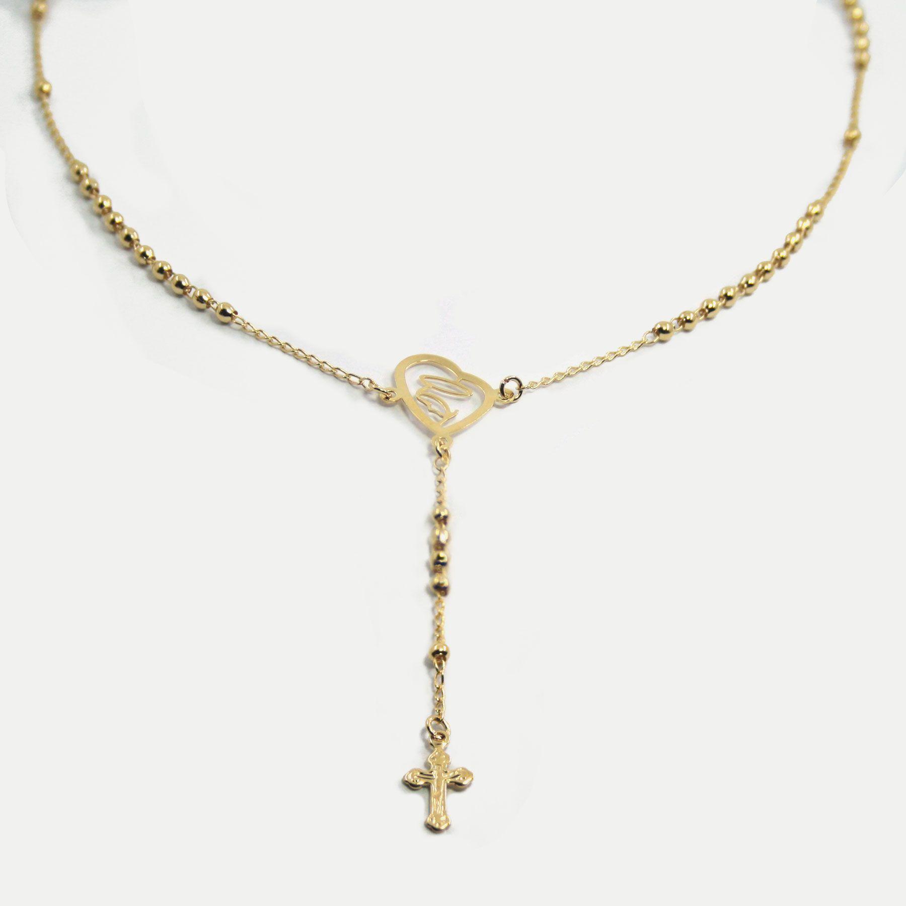 Colar em formato de Terço de Nossa Senhora Banhado em Ouro 18k