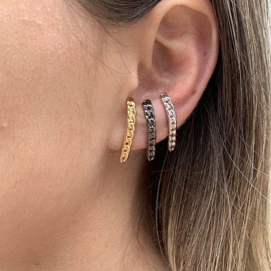 Earhook Corrente Grumet Banhado em Ouro 18k