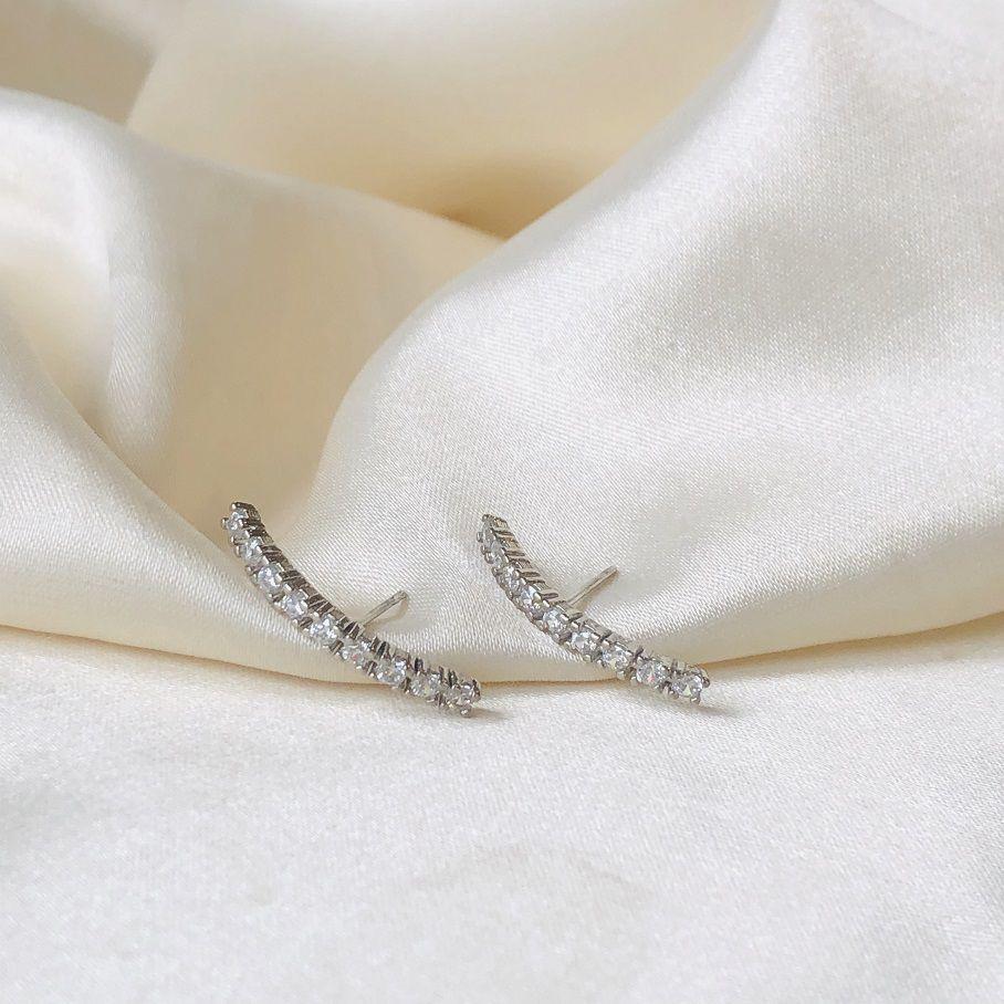 Earhook Cristal Banhado em Ródio Branco