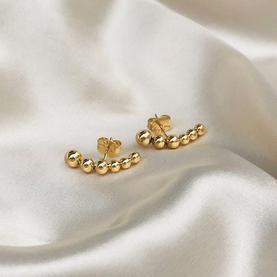 Earhook de Bolinhas Banhado em Ouro 18k