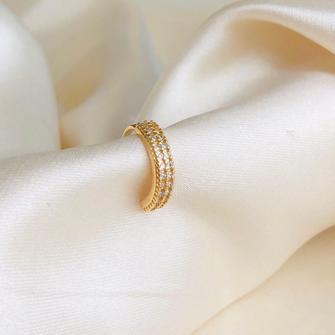 Piercing de Pressão Cravejado Duplo Cristal Banhado em Ouro 18k