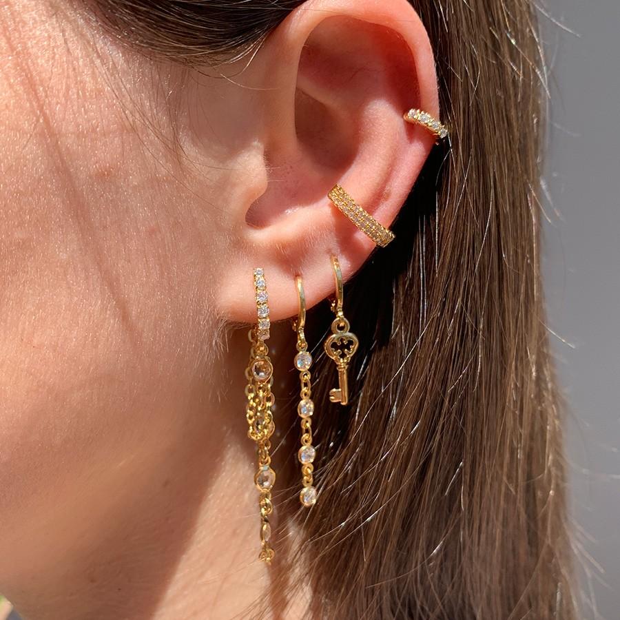 Piercing de Pressão Duplo Micro Zircônias Banhado em Ouro 18k
