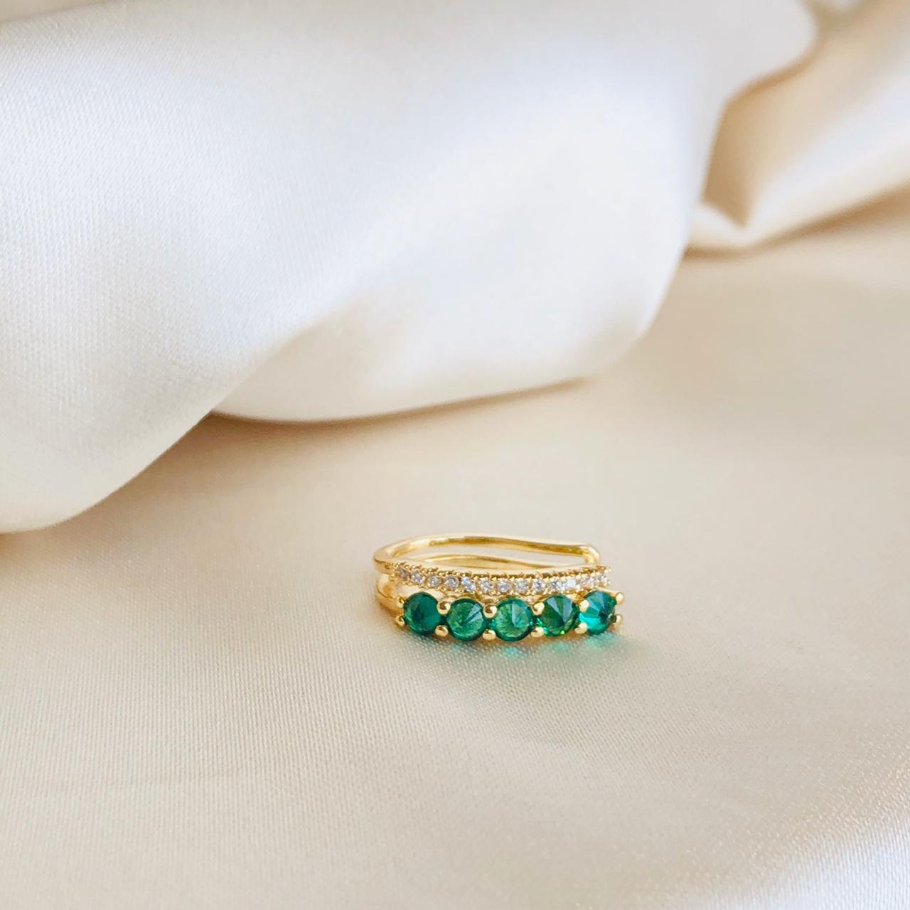 Piercing de Pressão Duplo Esmeralda e Cristal Banhado em Ouro 18k