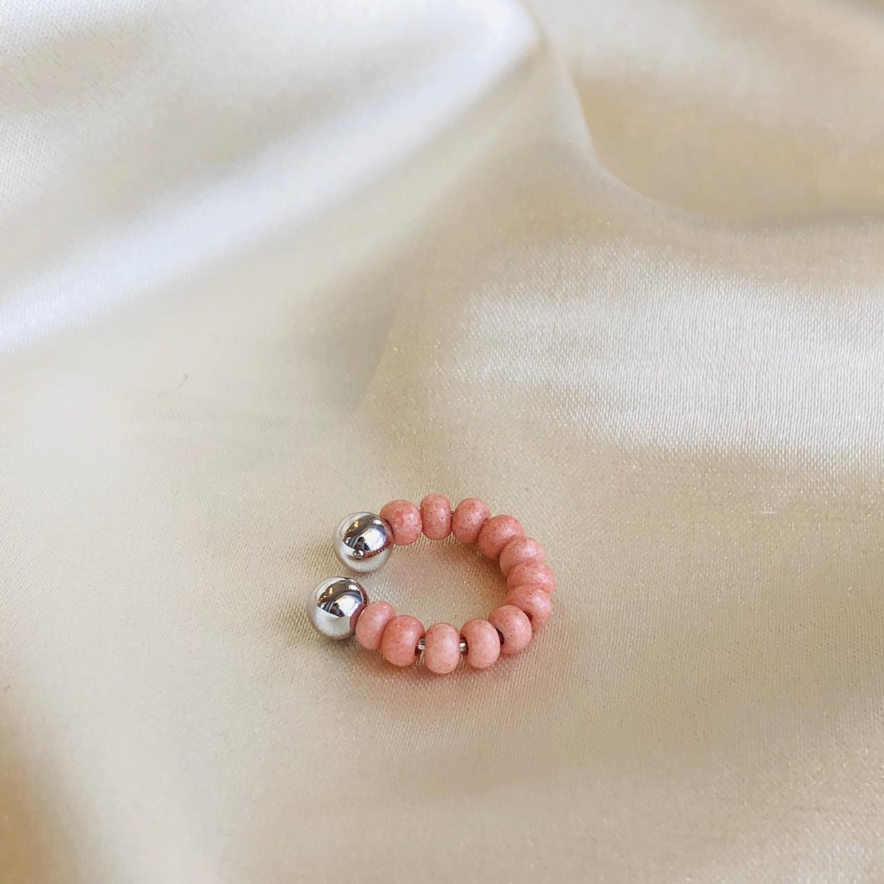 Piercing de Pressão Miçanga Rosê Banhado em  Ródio Branco