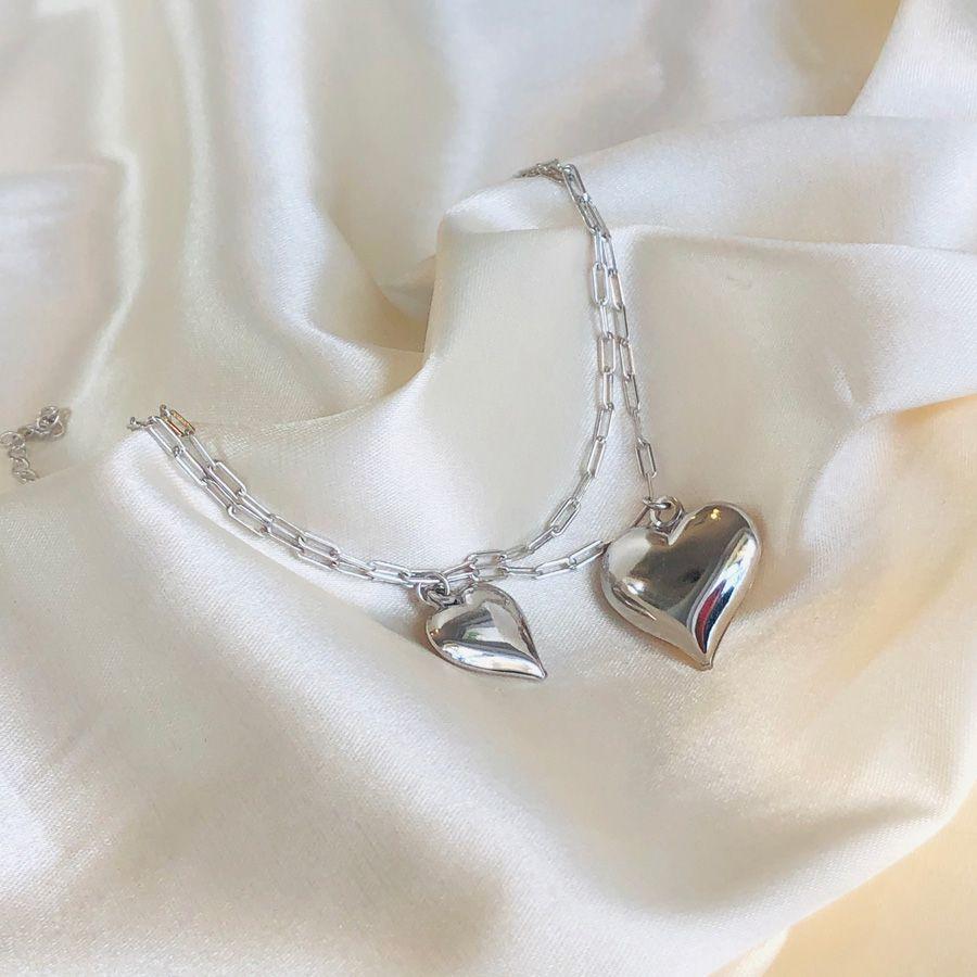 Pulseira Cartier 2 Corações Banhada em Ródio Branco
