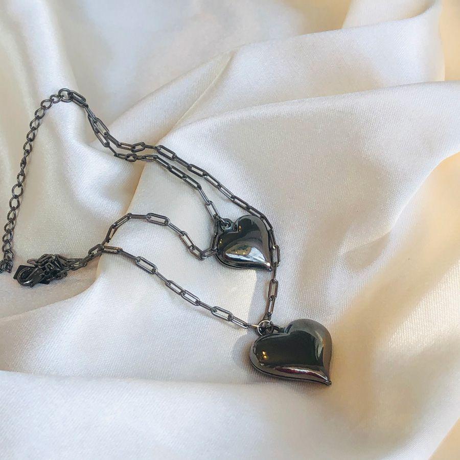 Pulseira Cartier 2 Corações Banhada em Ródio Negro