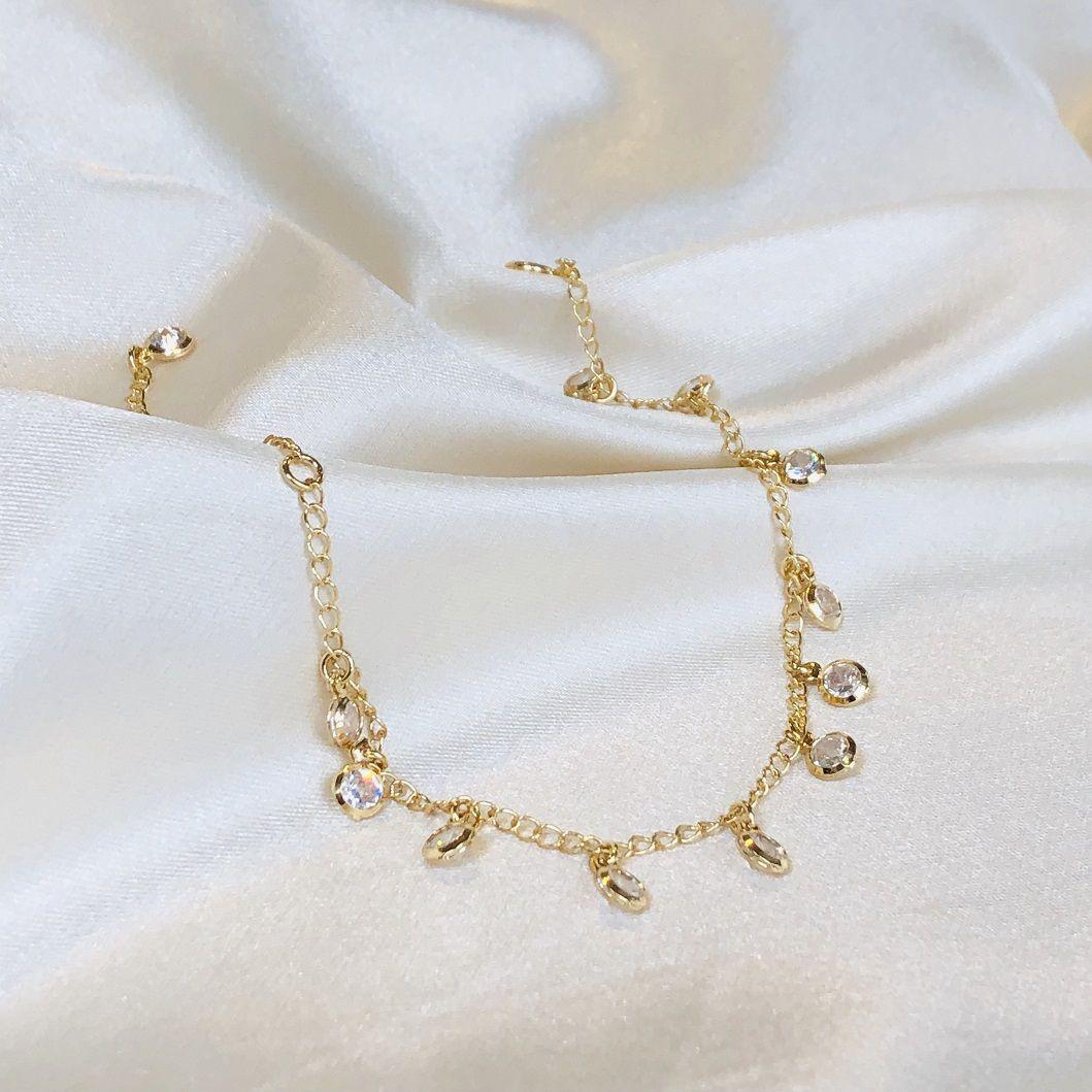 Pulseira com Pingentes de Zircônias Cristal Banhada em Ouro 18k