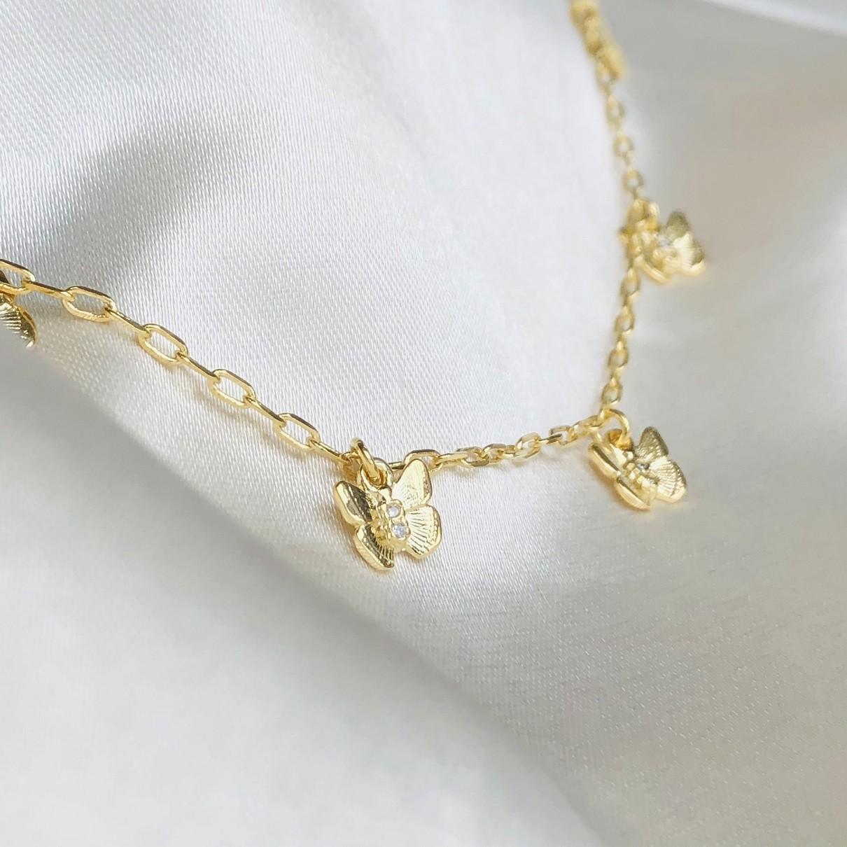 Pulseira de Borboletas Banhadas em Ouro 18k