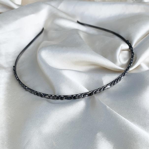 Tiara de Corrente Banhada em Ródio Negro