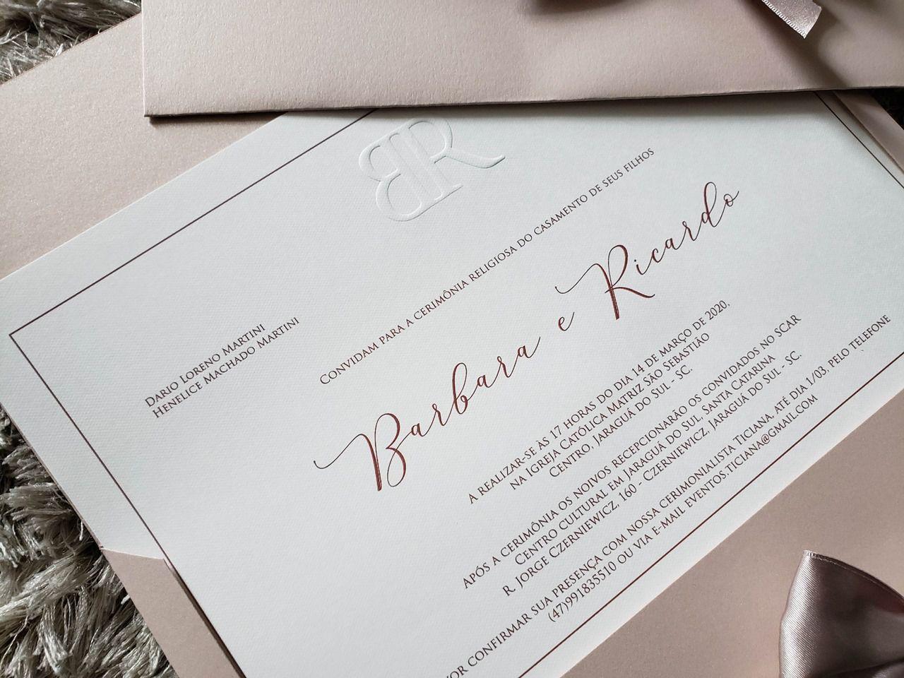 Convite Bárbara e Ricardo