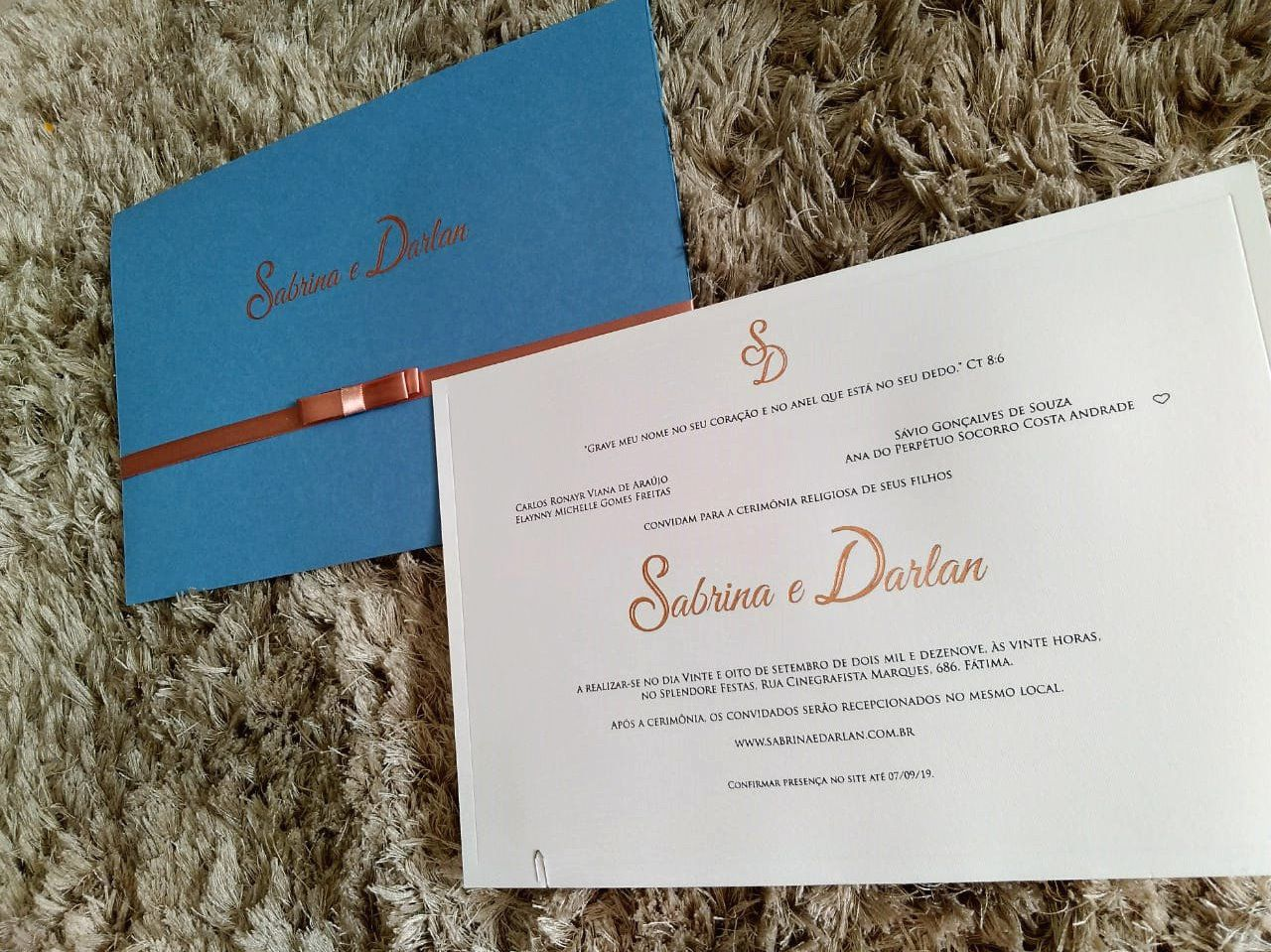 Convite Sabrina e Darlan