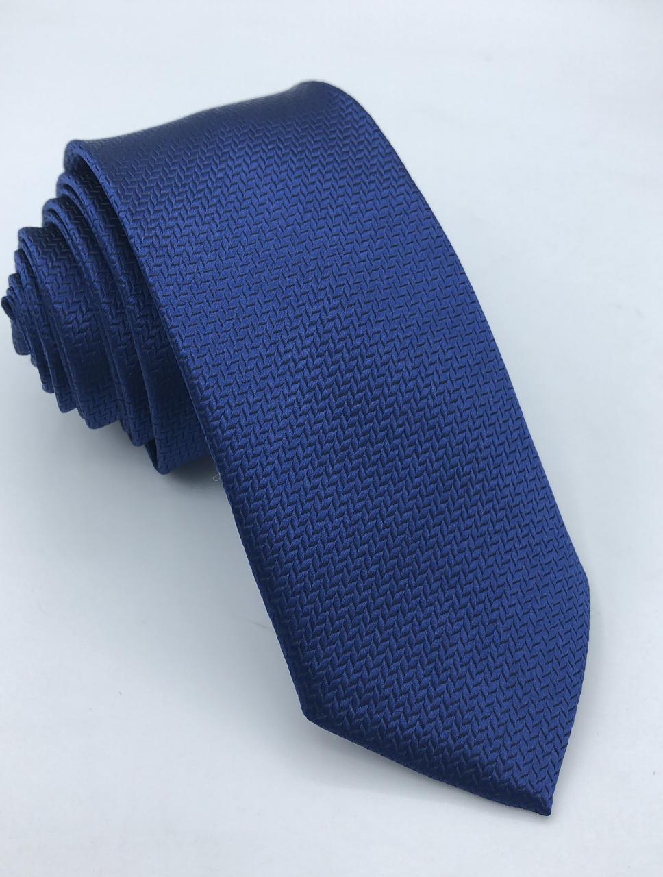 Gravata Trabalhada Tradicional Azul Marinho