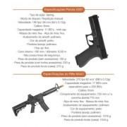 KIT AIRSOFT - RIFLE M4A1 6MM E PISTOLA V307 MOLA 6MM