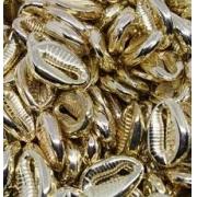 Búzio artificial em plástico ABS  - Dourado 10 unidades