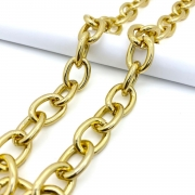 Corrente cadeado dourada 23x10mm (Cód 4.1)  - 1 Metro