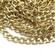 Corrente grumet lixada dourada 10x6mm (Cód 2.0)  - 1 Metro
