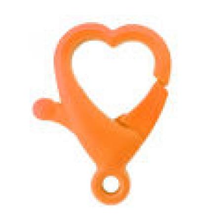 Fecho mosquetão lagosta -  Coração laranja  - 2cm x 3,5cm