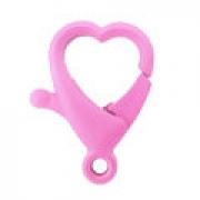 Fecho mosquetão lagosta -  Coração rosa  - 2cm x 3,5cm