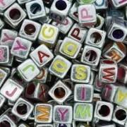 Cubo prateado c/ letras colors - 25g