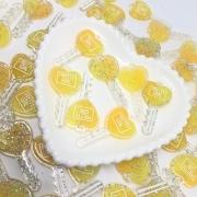 Pingente chave de corção - Amarelo com glitter