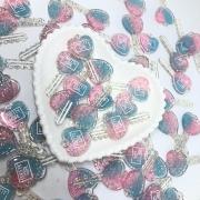 Pingente chave de corção - Azul e rosa com glitter
