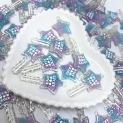 Pingente chave de estrela - Azul com lilás com glitter
