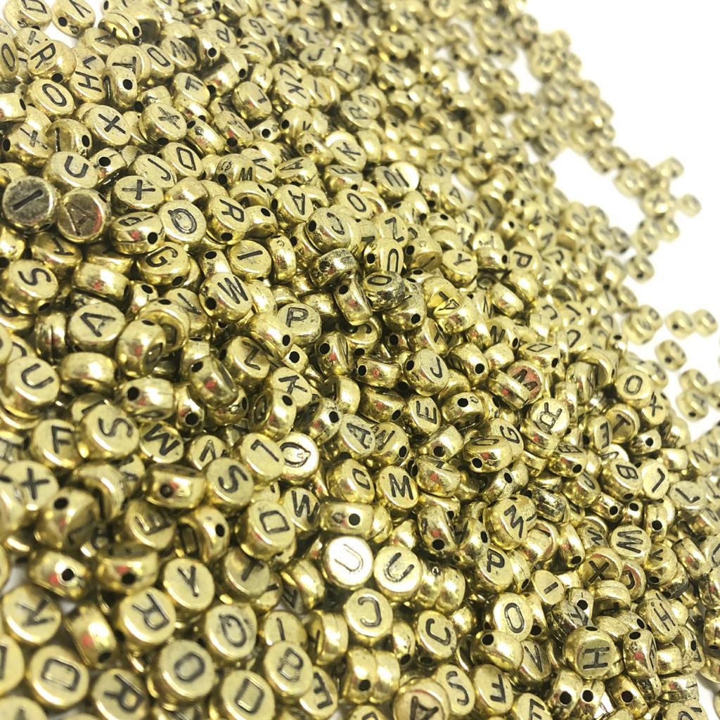 Alfabeto redondo dourado e preto 5mm - 25g
