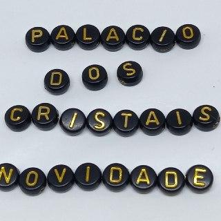 Alfabeto redondo preto c/ letras douradas 7mm  - 25g