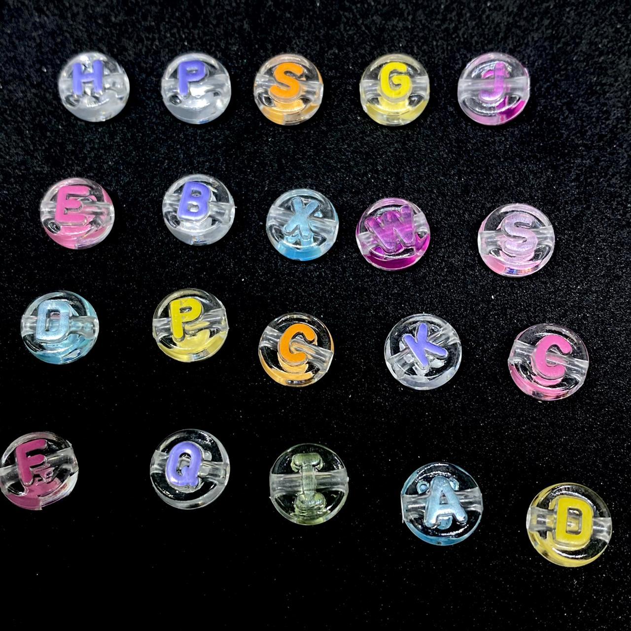 Alfabeto redondo transparente c/ letras multicolor 10mm  - 10g