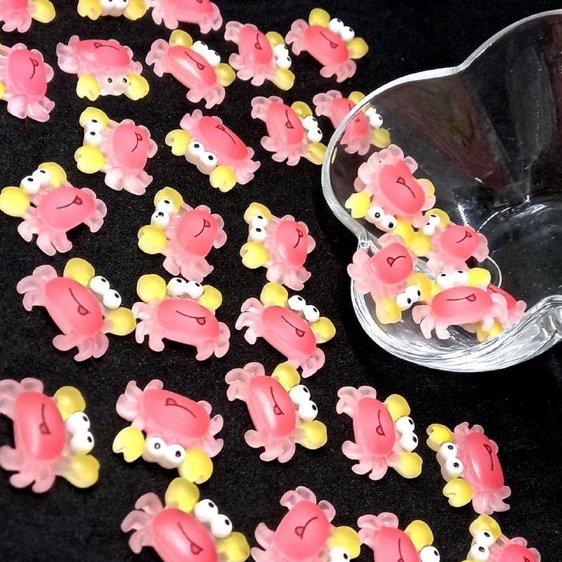Aplique de caranguejo rosa Rosa c/ patas amarelas  20x25mm / unidade