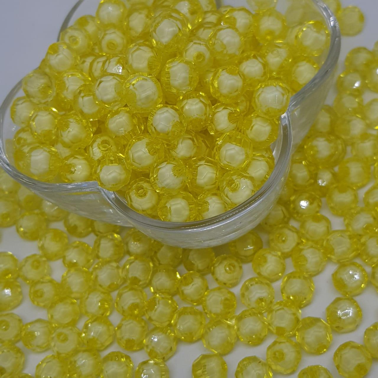 Bolinha de acrilico amarelo c/ miolo branco sextavado  8MM 25g