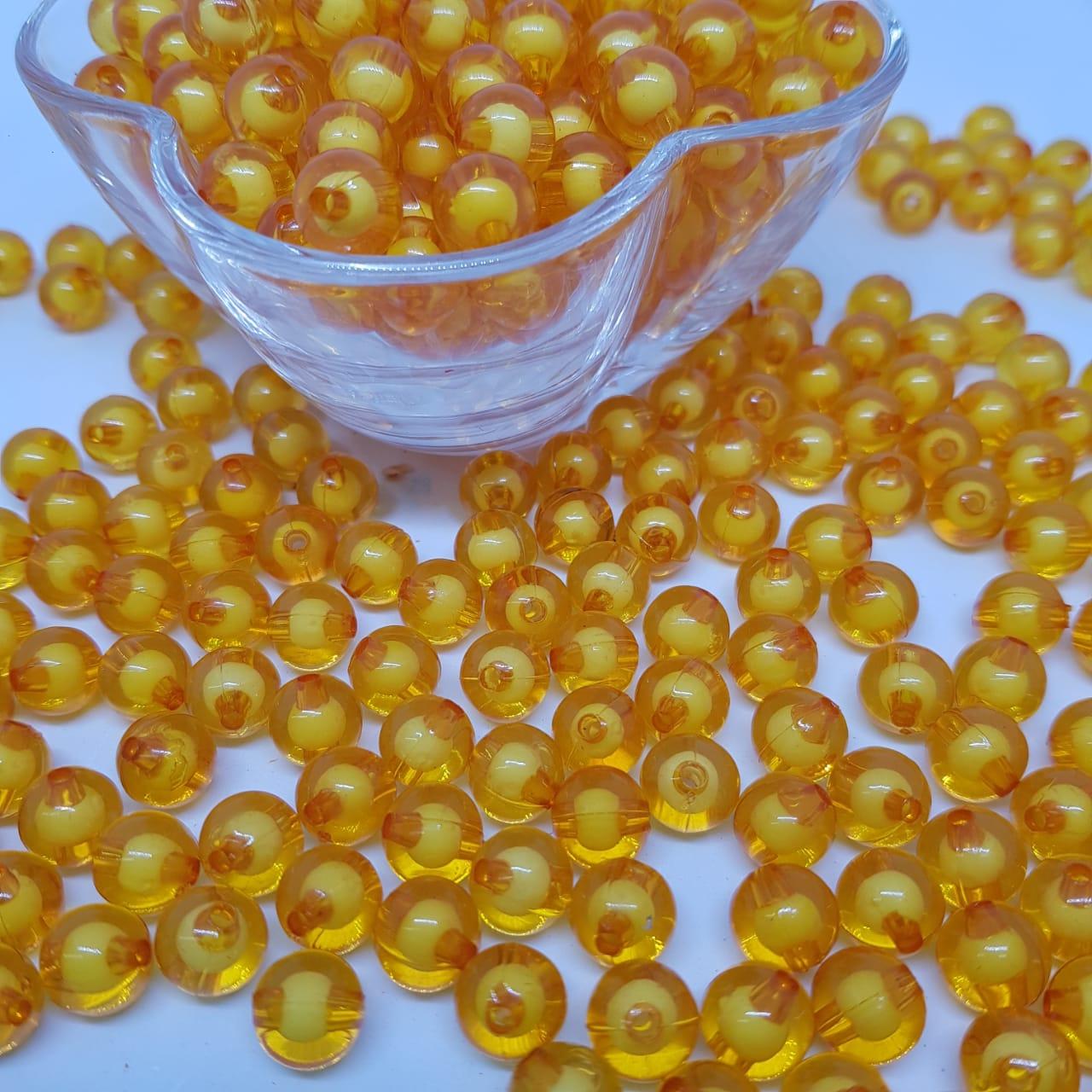 Bolinha de acrilico laranja com miolo branco lisa  10MM 25g