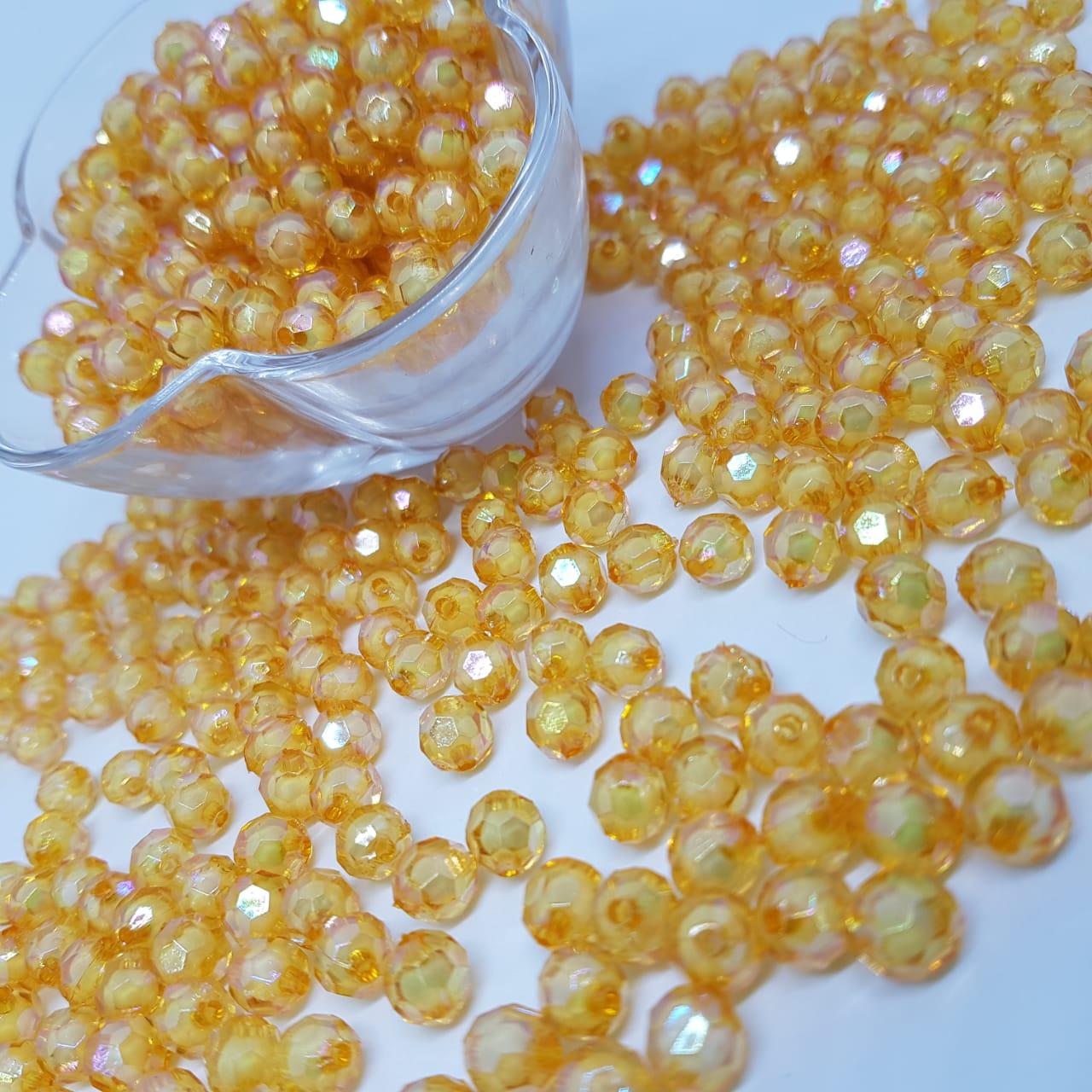 Bolinha de acrilico  laranja com miolo branco sextavado 10MM 25g