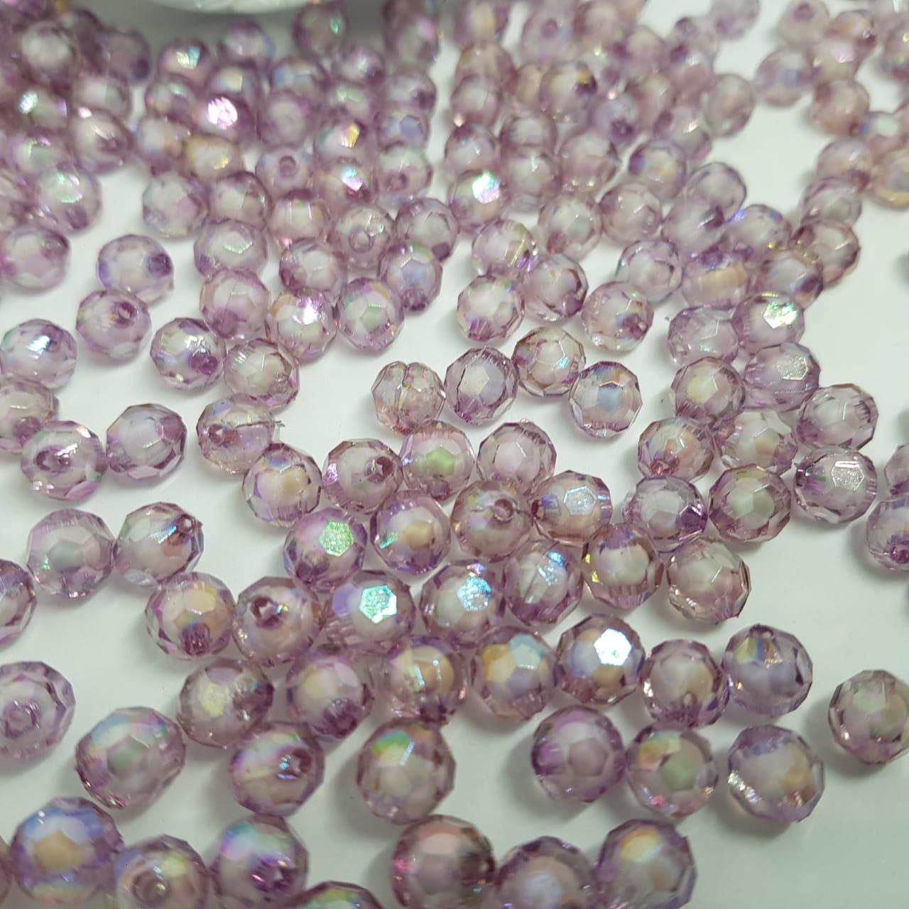 Bolinha de acrilico lilas furta cor sextavado 8MM 25g