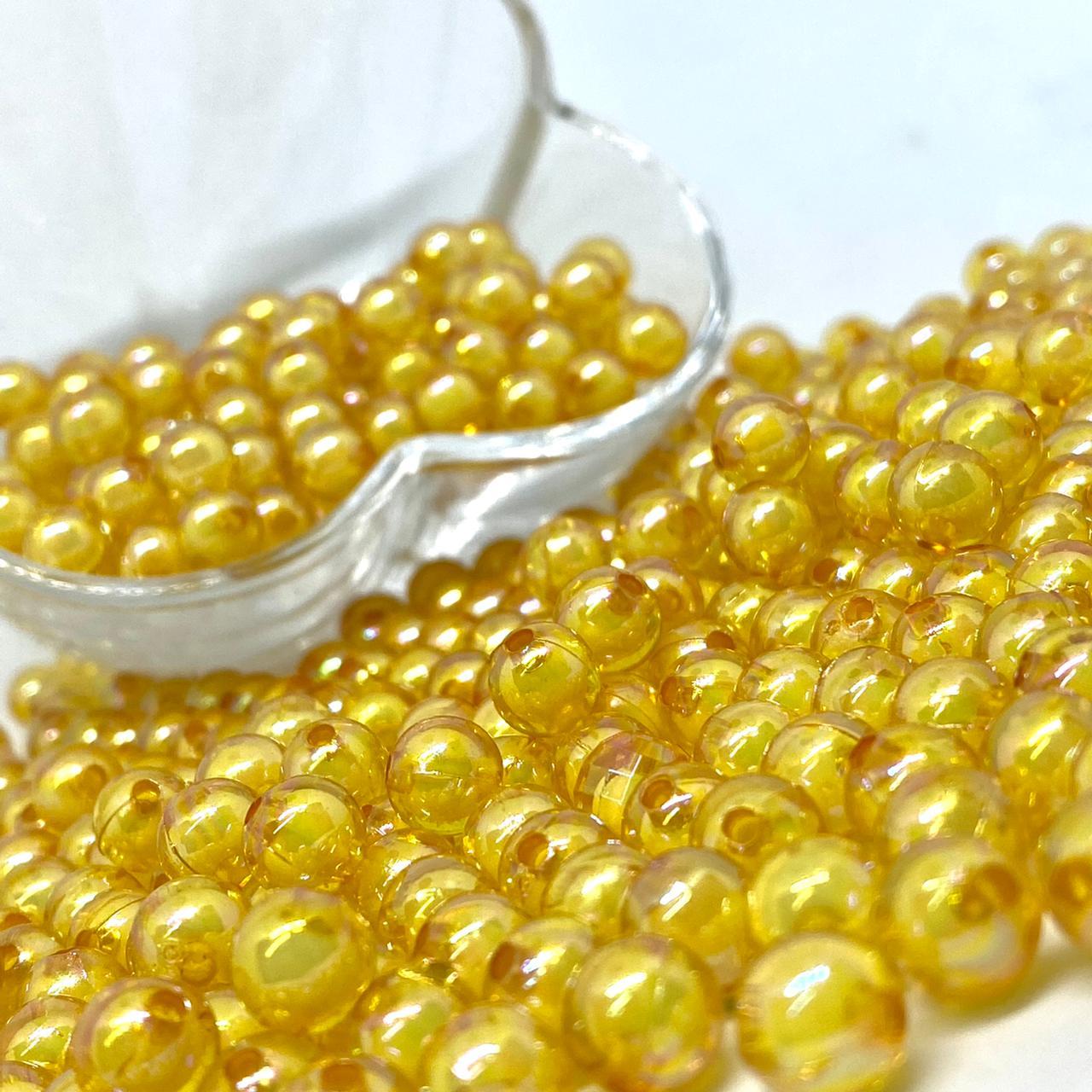 Bolinha de acrilico ouro furta cor lisa  8MM 25g