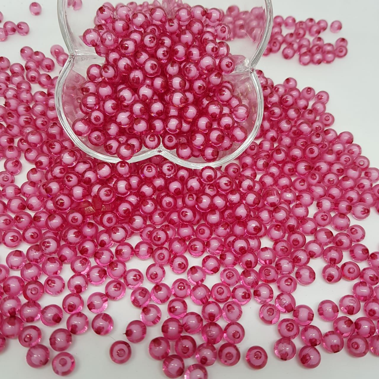 Bolinha de acrilico rosa forte c/ miolo branco lisa  10MM 25g